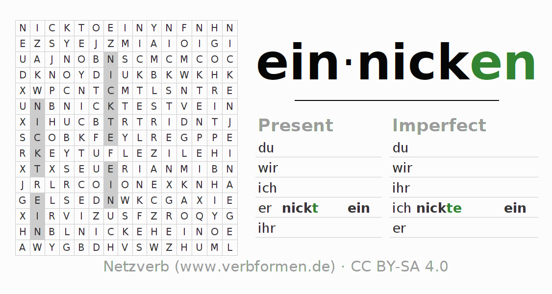 Word search puzzle for the conjugation of the verb einnicken