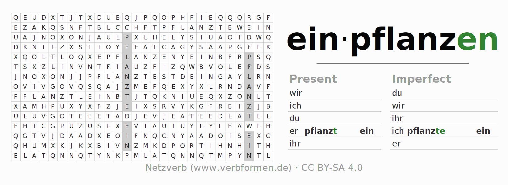 Word search puzzle for the conjugation of the verb einpflanzen