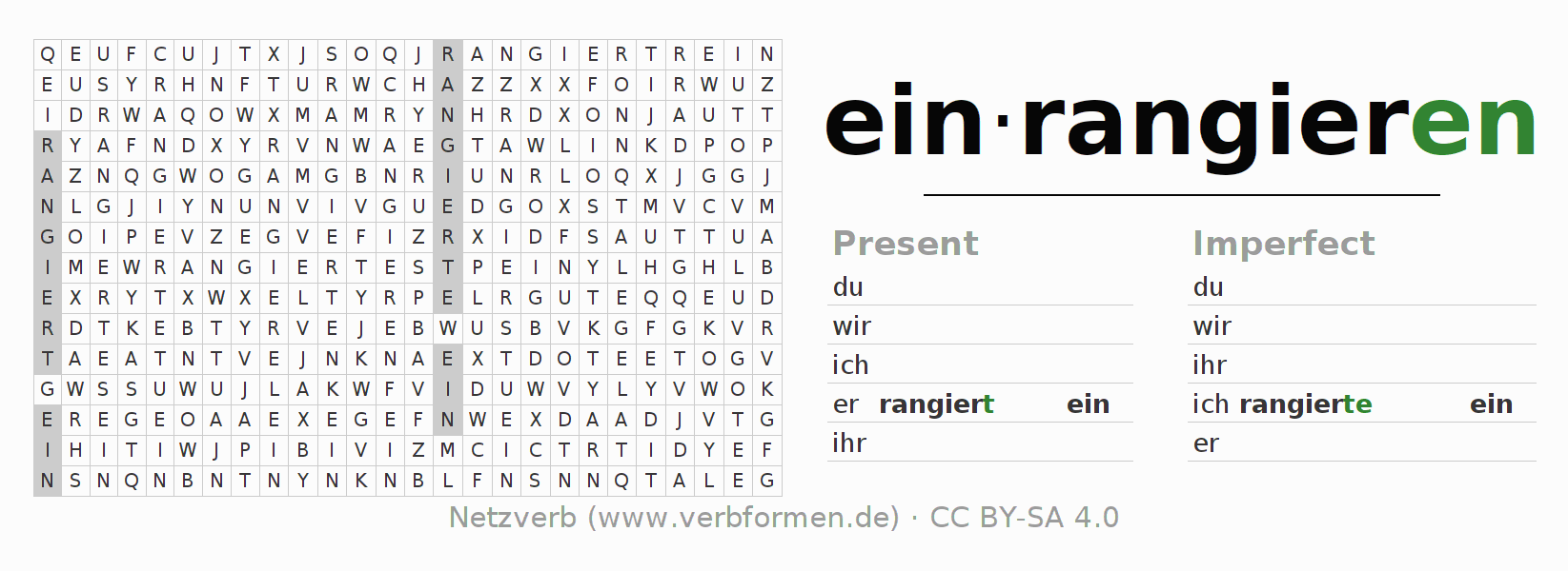 Word search puzzle for the conjugation of the verb einrangieren