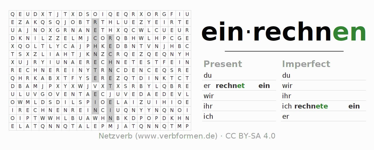 Word search puzzle for the conjugation of the verb einrechnen