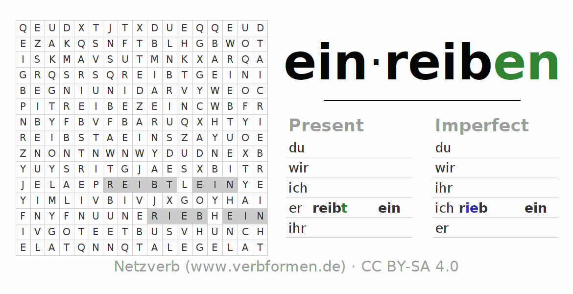 Word search puzzle for the conjugation of the verb einreiben