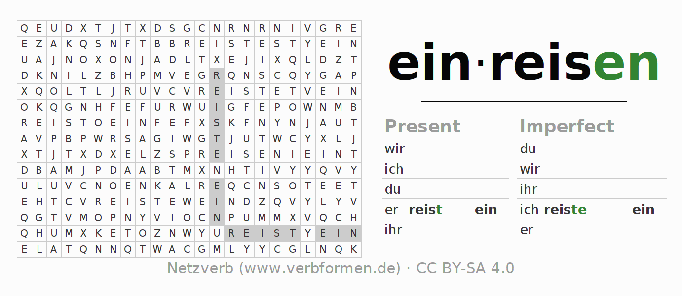 Word search puzzle for the conjugation of the verb einreisen