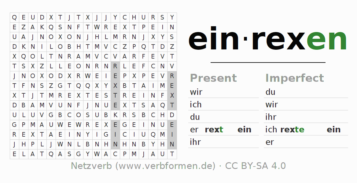 Word search puzzle for the conjugation of the verb einrexen