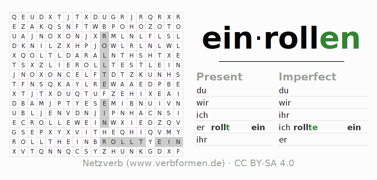 Word search puzzle for the conjugation of the verb einrollen (hat)
