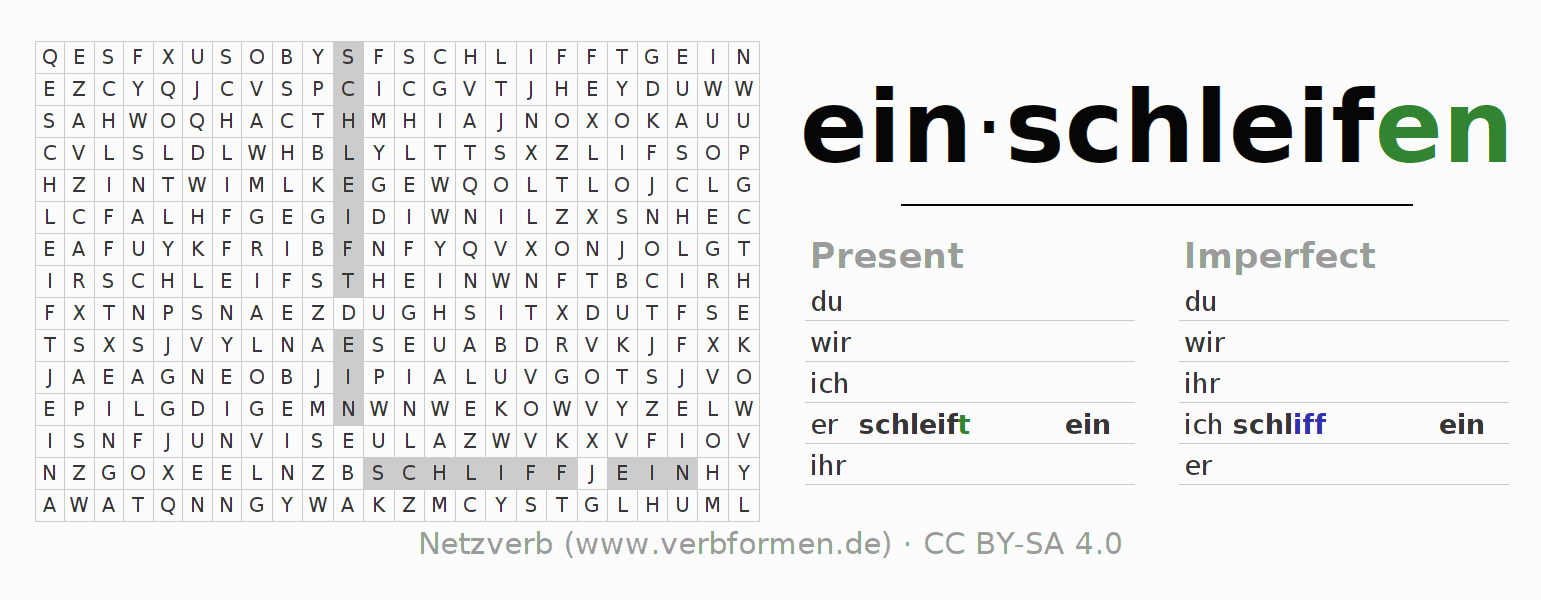 Word search puzzle for the conjugation of the verb einschleifen