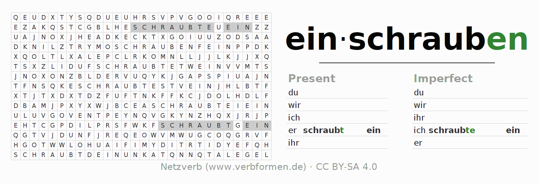 Word search puzzle for the conjugation of the verb einschrauben