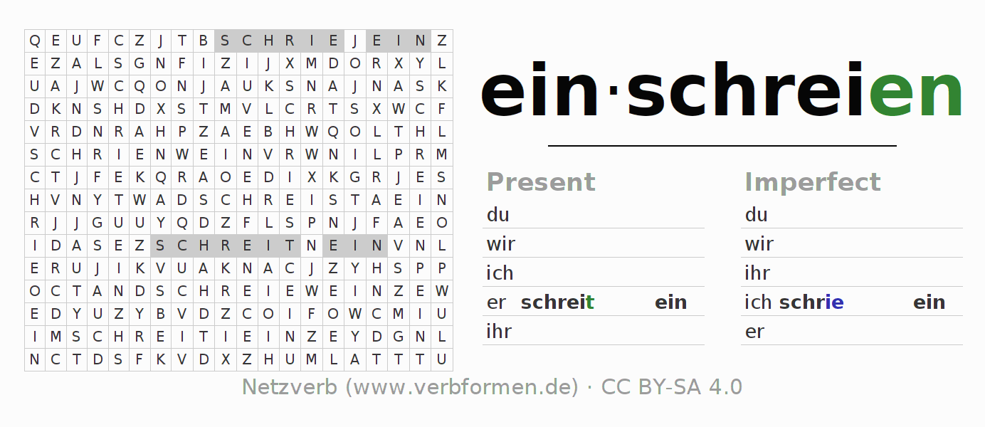 Word search puzzle for the conjugation of the verb einschreien