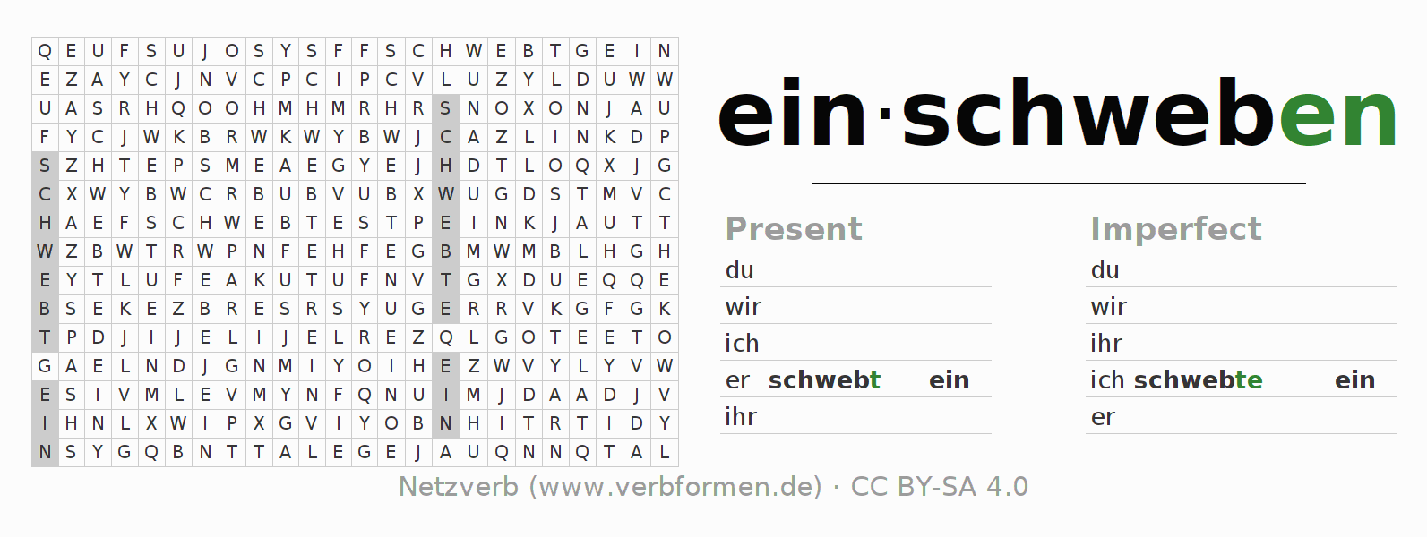 Word search puzzle for the conjugation of the verb einschweben