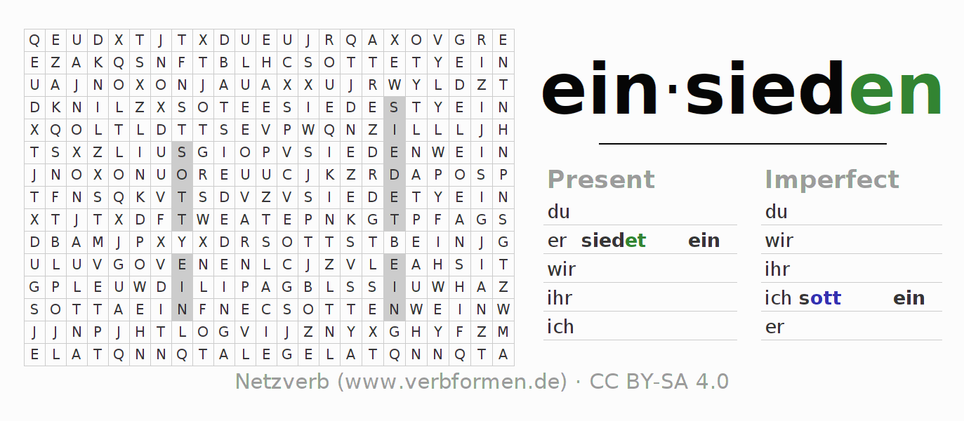 Word search puzzle for the conjugation of the verb einsieden (unr)