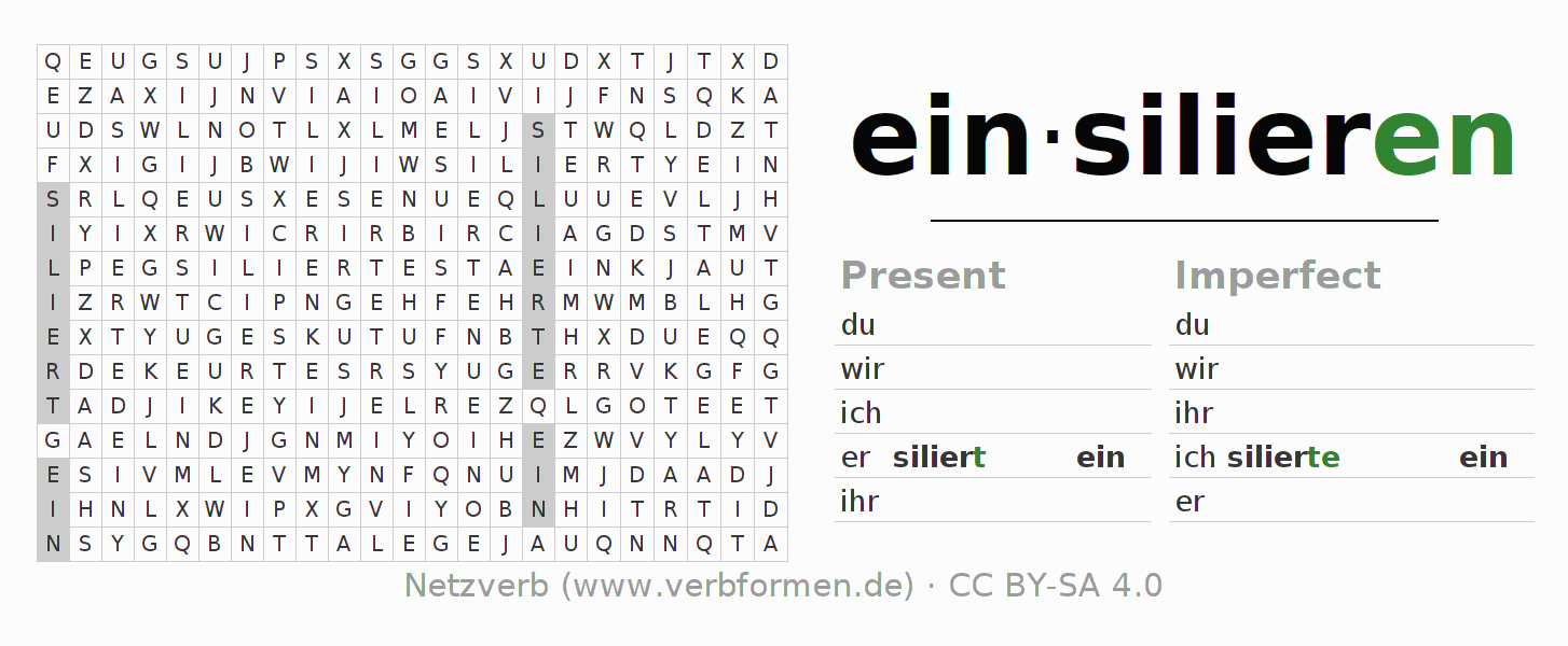 Word search puzzle for the conjugation of the verb einsilieren