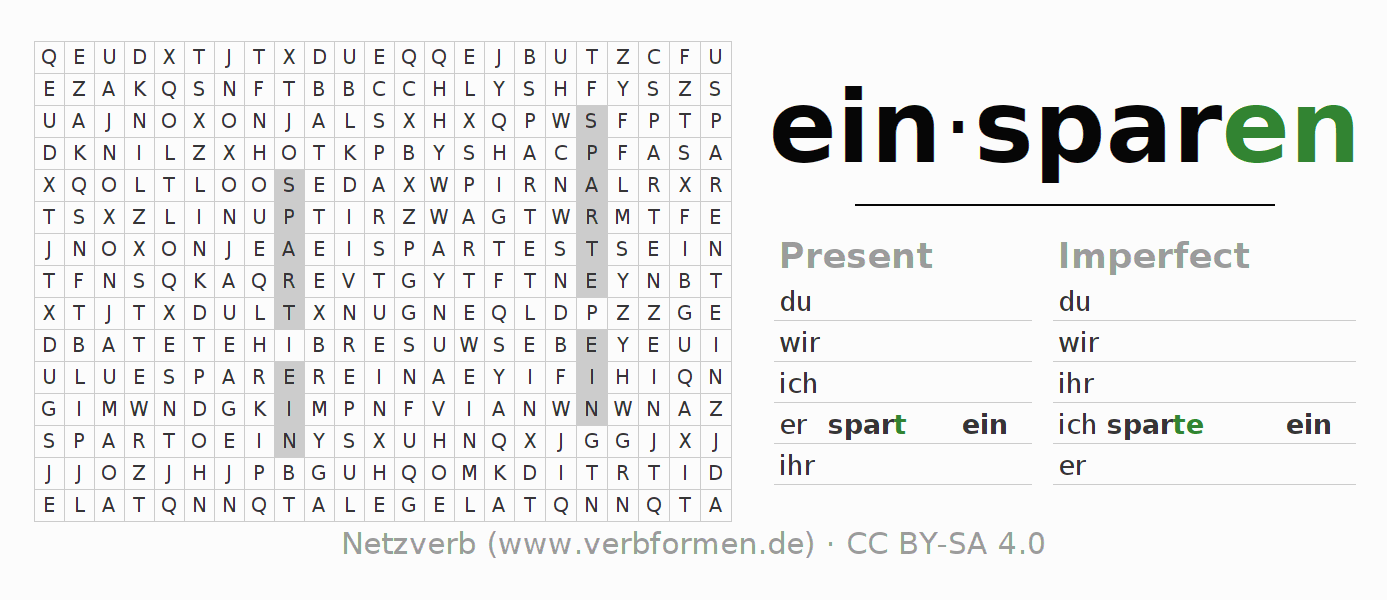 Word search puzzle for the conjugation of the verb einsparen