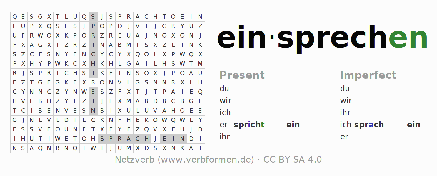 Word search puzzle for the conjugation of the verb einsprechen
