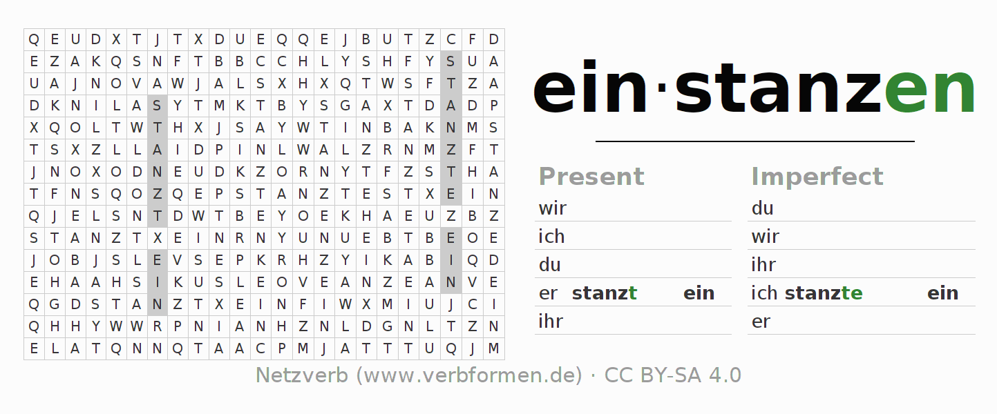 Word search puzzle for the conjugation of the verb einstanzen