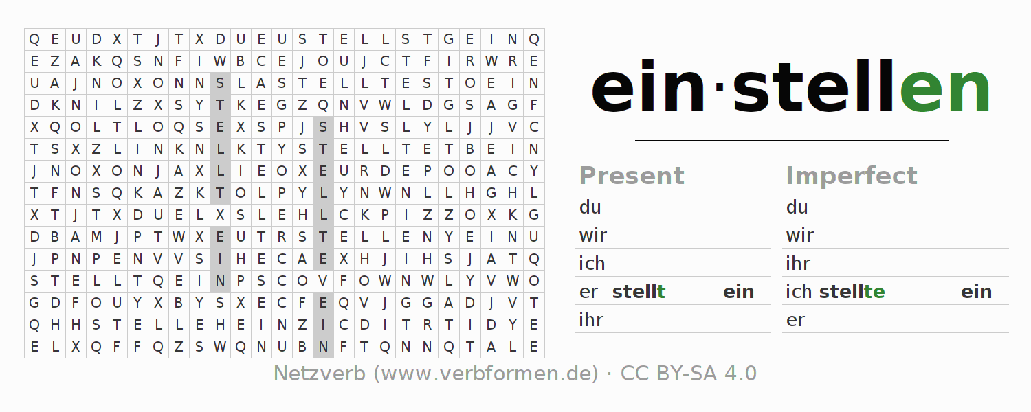 Word search puzzle for the conjugation of the verb einstellen