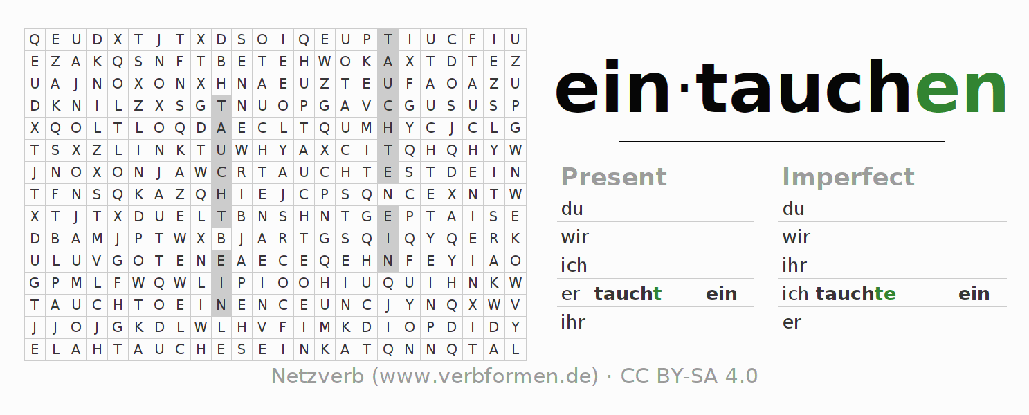 Word search puzzle for the conjugation of the verb eintauchen (hat)