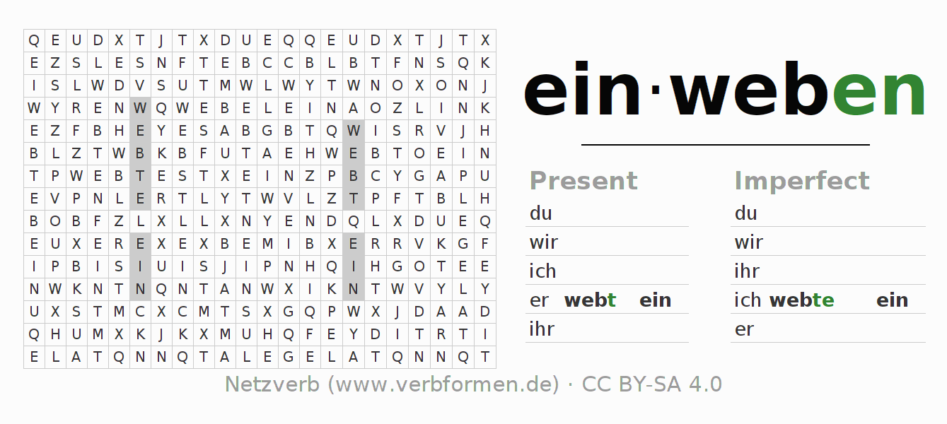 Word search puzzle for the conjugation of the verb einweben