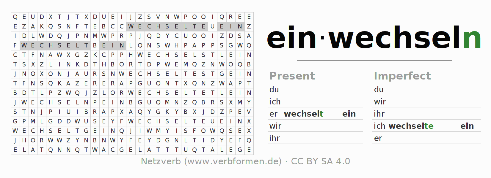 Word search puzzle for the conjugation of the verb einwechseln (hat)