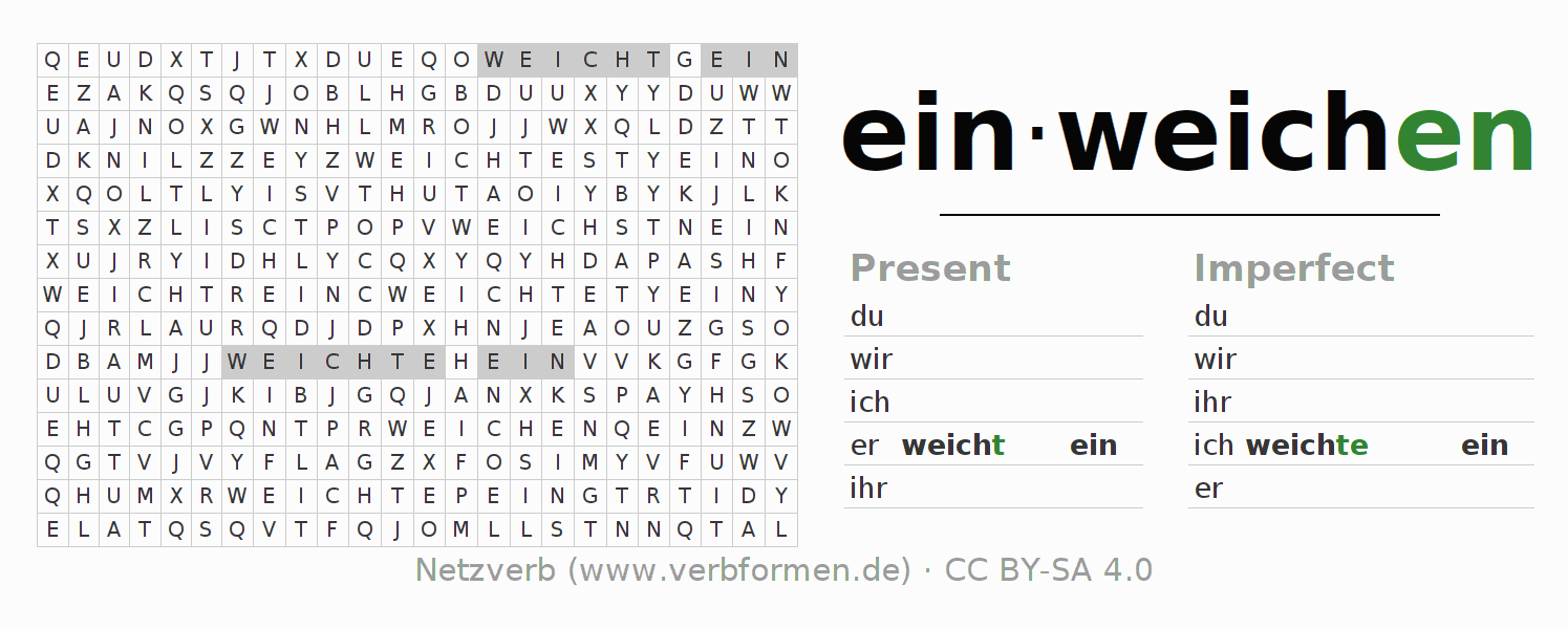 Word search puzzle for the conjugation of the verb einweichen