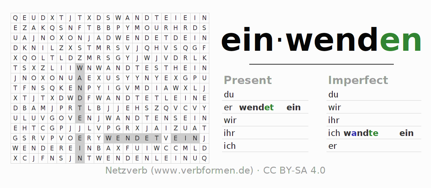 Word search puzzle for the conjugation of the verb einwenden (unr)