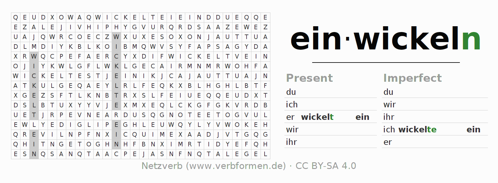 Word search puzzle for the conjugation of the verb einwickeln