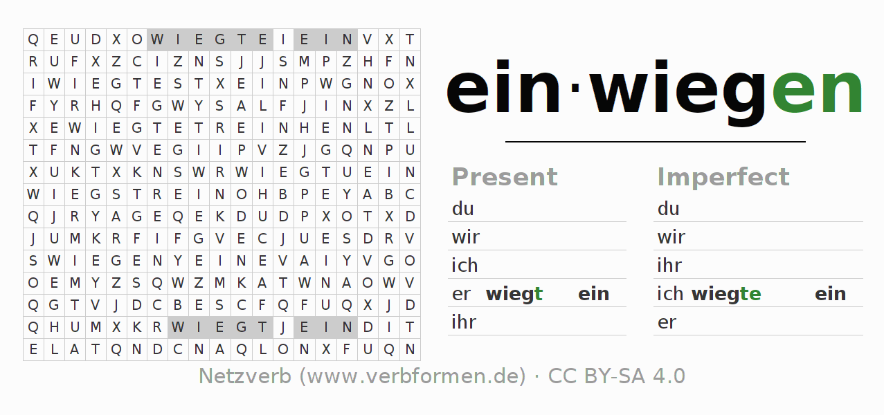Word search puzzle for the conjugation of the verb einwiegen (regelm)