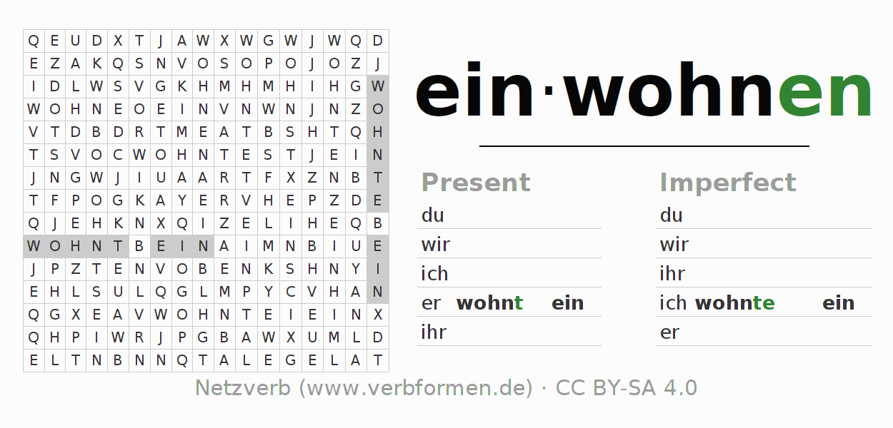 Word search puzzle for the conjugation of the verb einwohnen