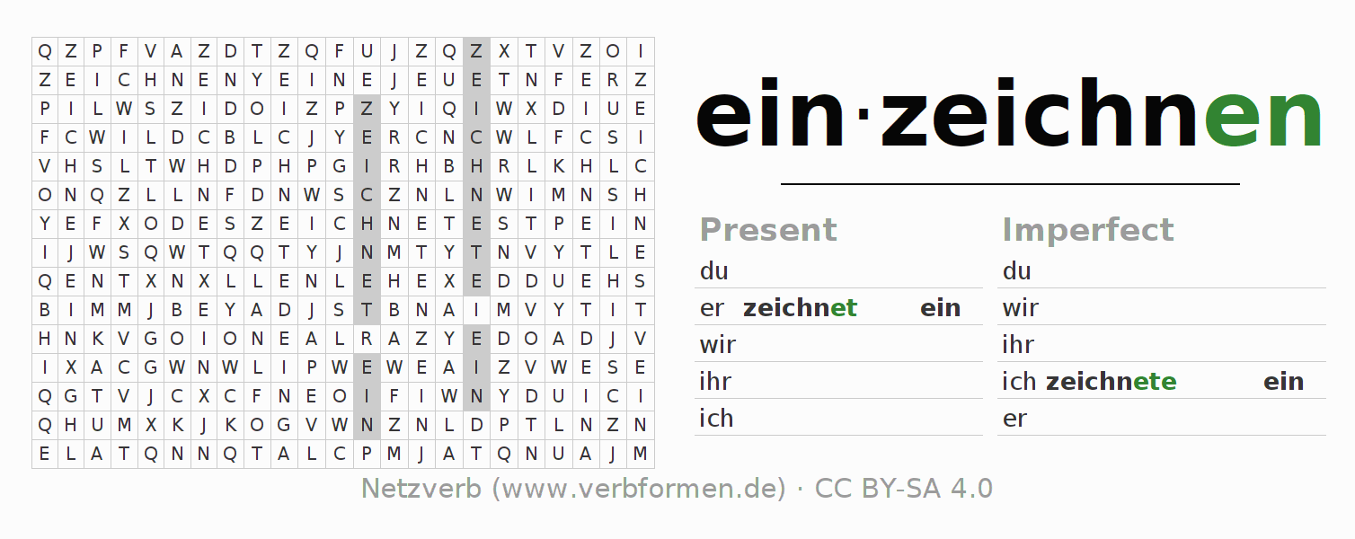 Word search puzzle for the conjugation of the verb einzeichnen