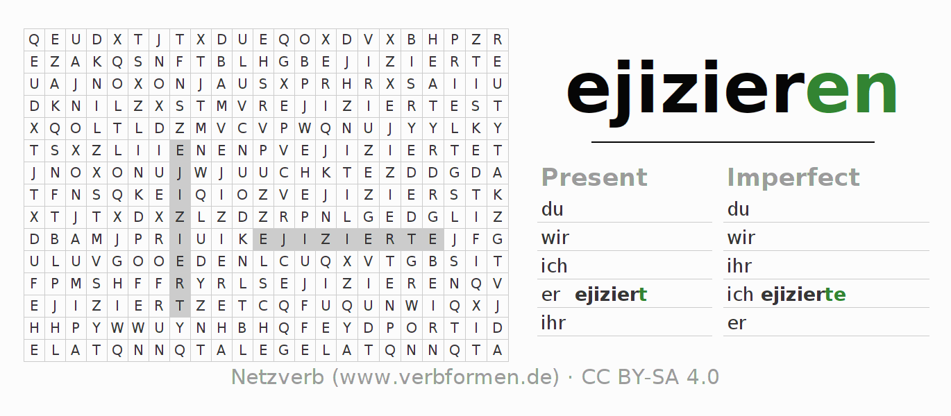 Word search puzzle for the conjugation of the verb ejizieren