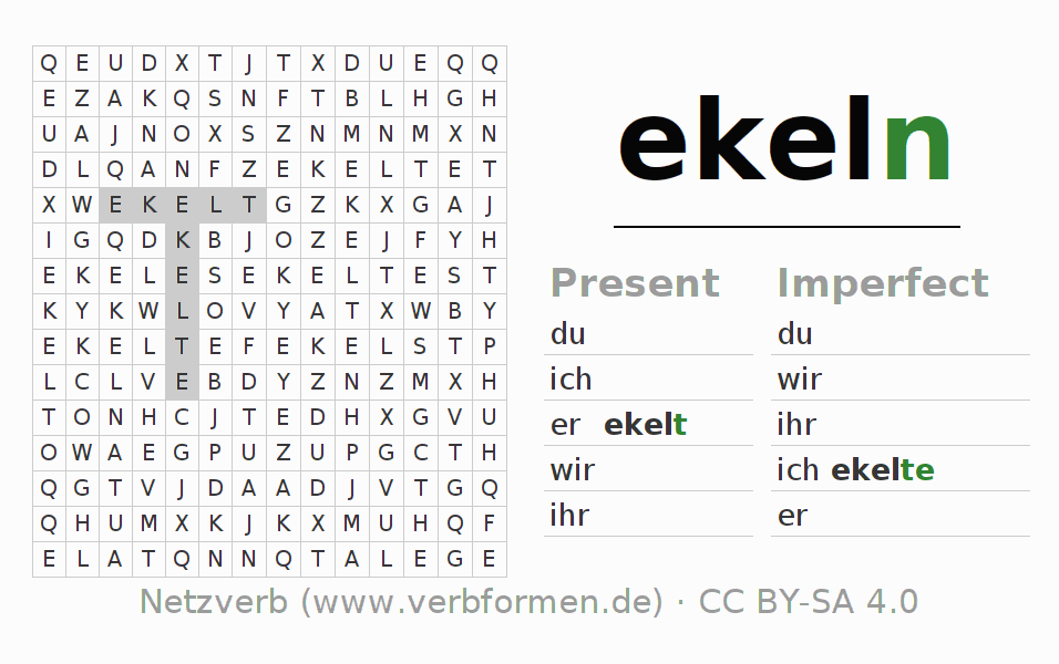 Word search puzzle for the conjugation of the verb ekeln