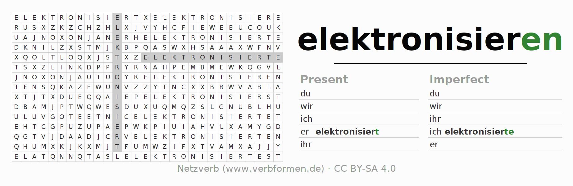 Word search puzzle for the conjugation of the verb elektronisieren