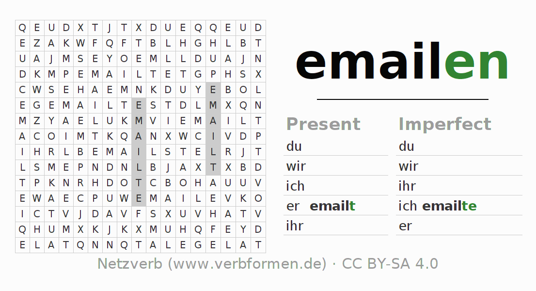 Word search puzzle for the conjugation of the verb emailen