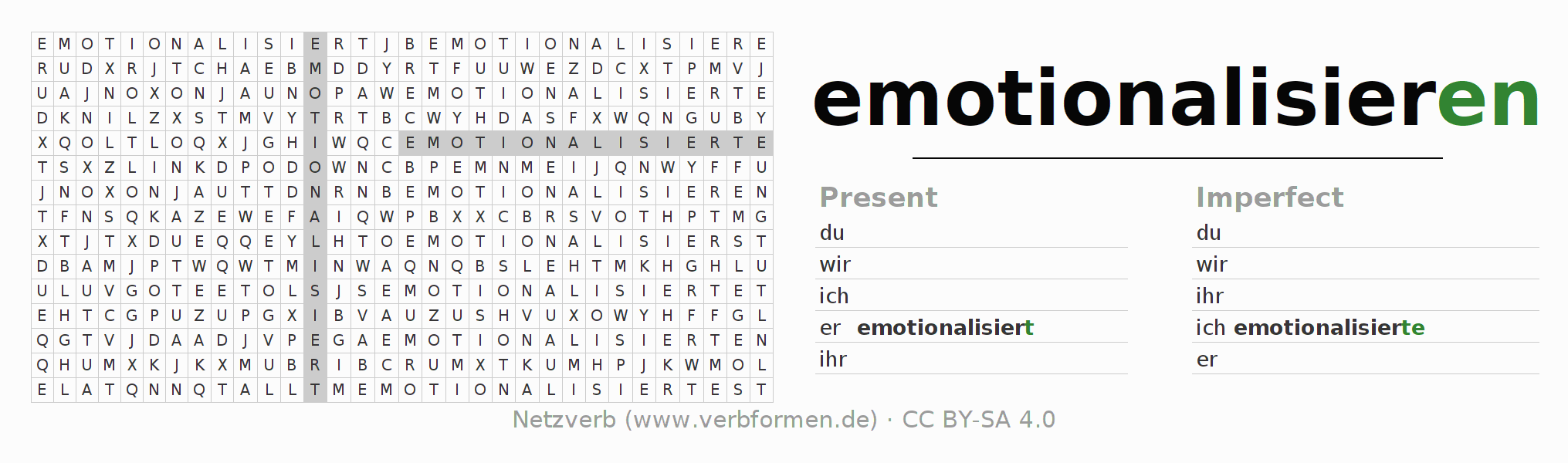 Word search puzzle for the conjugation of the verb emotionalisieren