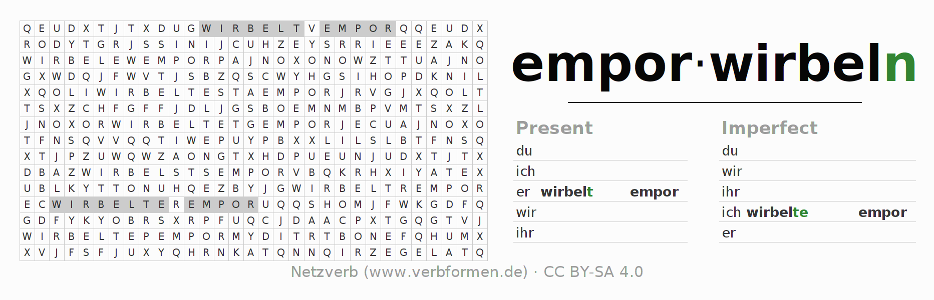 Word search puzzle for the conjugation of the verb emporwirbeln (ist)
