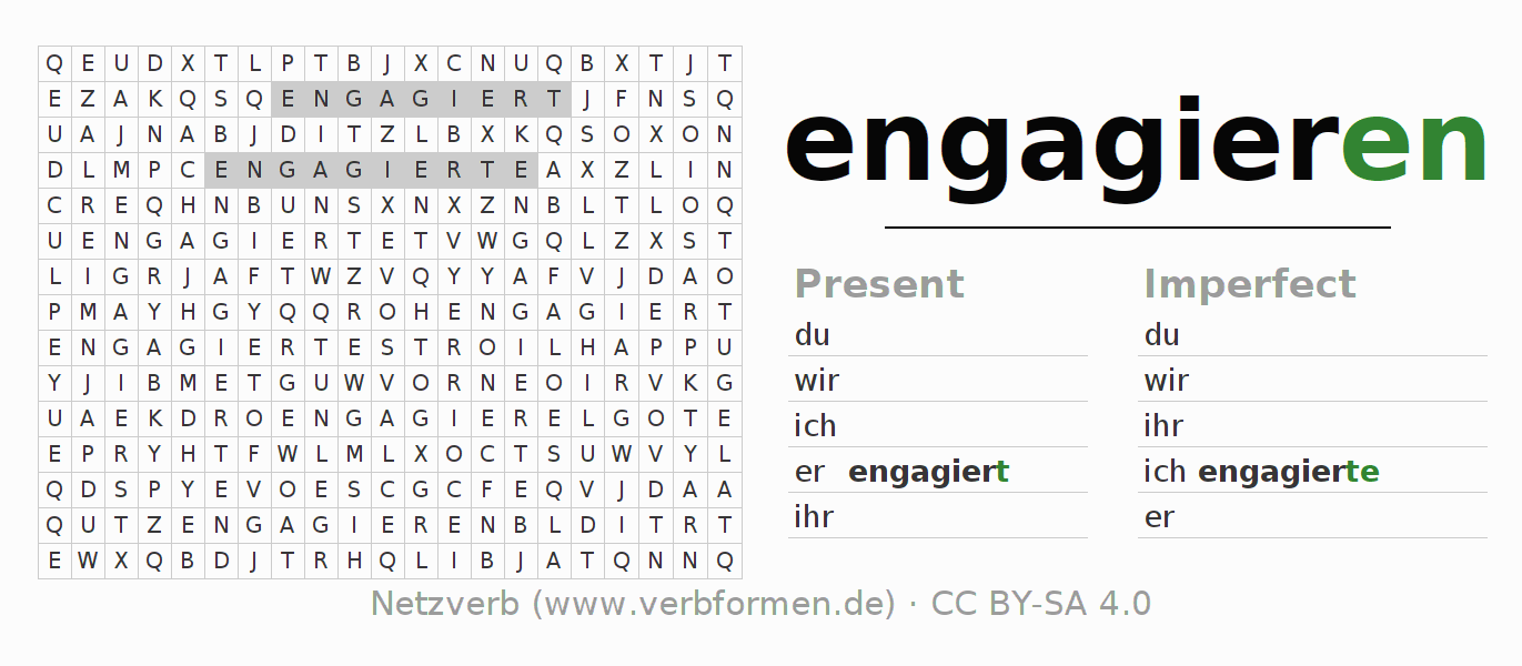 Word search puzzle for the conjugation of the verb engagieren