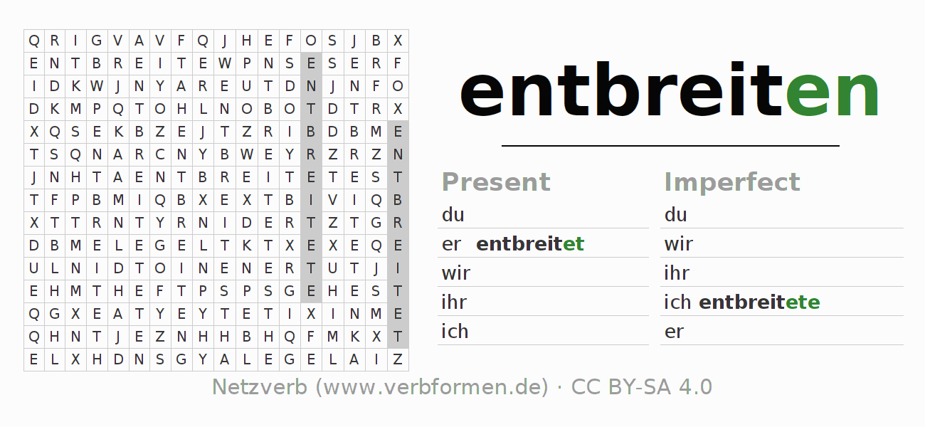 Word search puzzle for the conjugation of the verb entbreiten