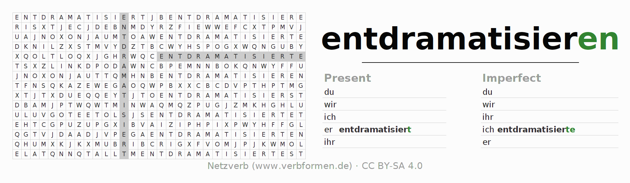 Word search puzzle for the conjugation of the verb entdramatisieren