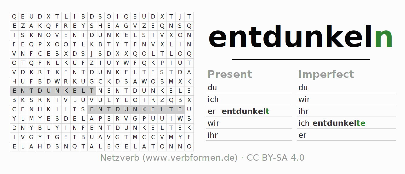 Word search puzzle for the conjugation of the verb entdunkeln