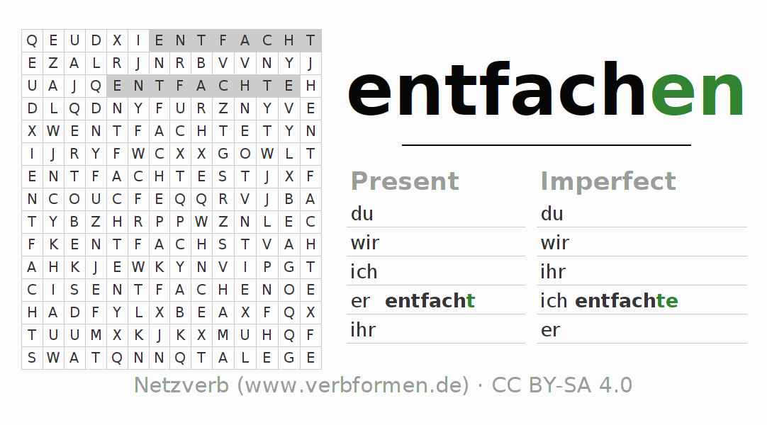 Word search puzzle for the conjugation of the verb entfachen