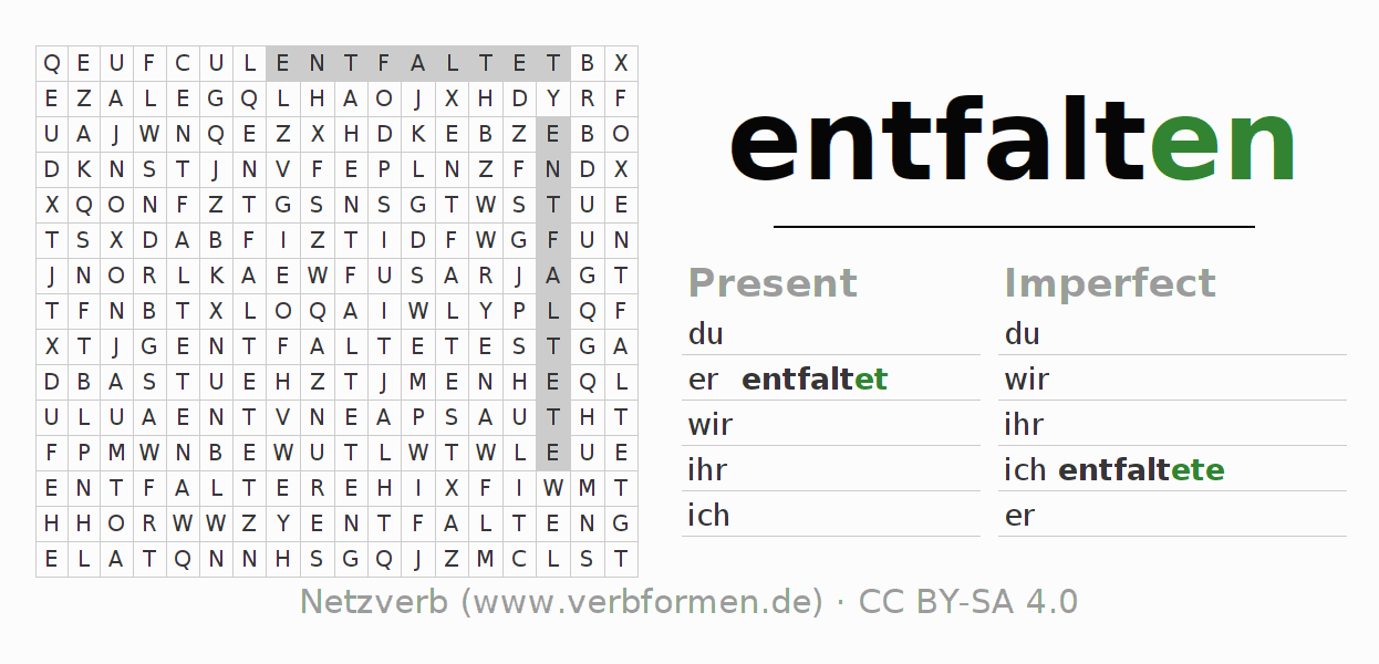 Word search puzzle for the conjugation of the verb entfalten