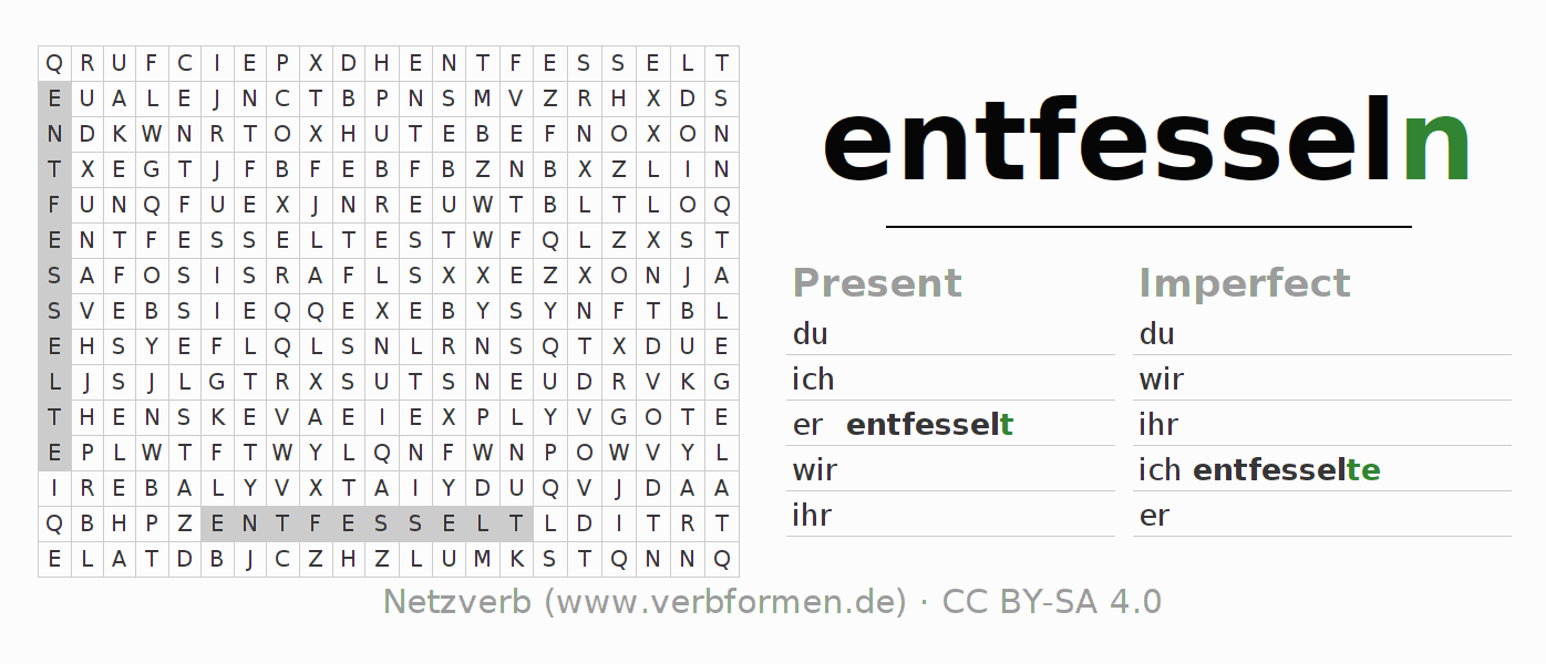 Word search puzzle for the conjugation of the verb entfesseln