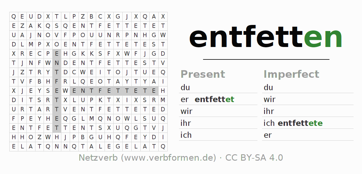 Word search puzzle for the conjugation of the verb entfetten