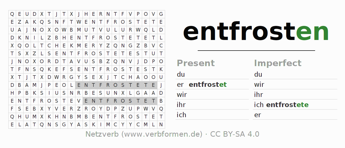 Word search puzzle for the conjugation of the verb entfrosten