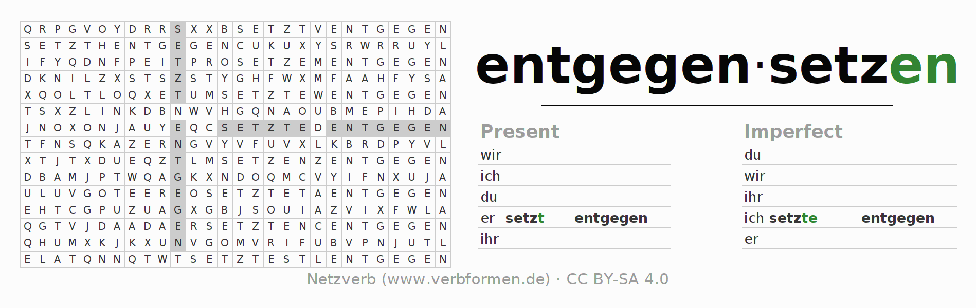 Word search puzzle for the conjugation of the verb entgegensetzen
