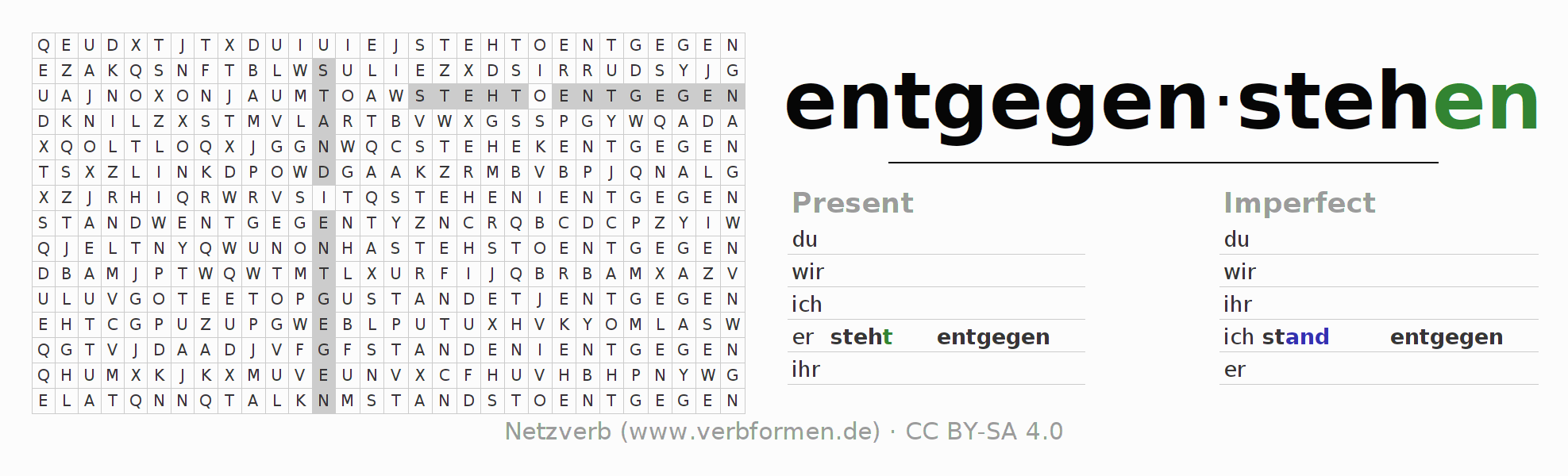 Word search puzzle for the conjugation of the verb entgegenstehen (hat)