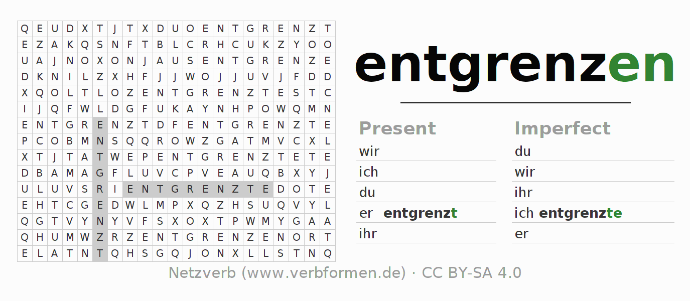 Word search puzzle for the conjugation of the verb entgrenzen
