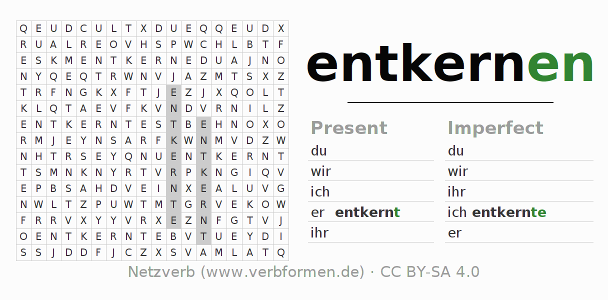 Word search puzzle for the conjugation of the verb entkernen