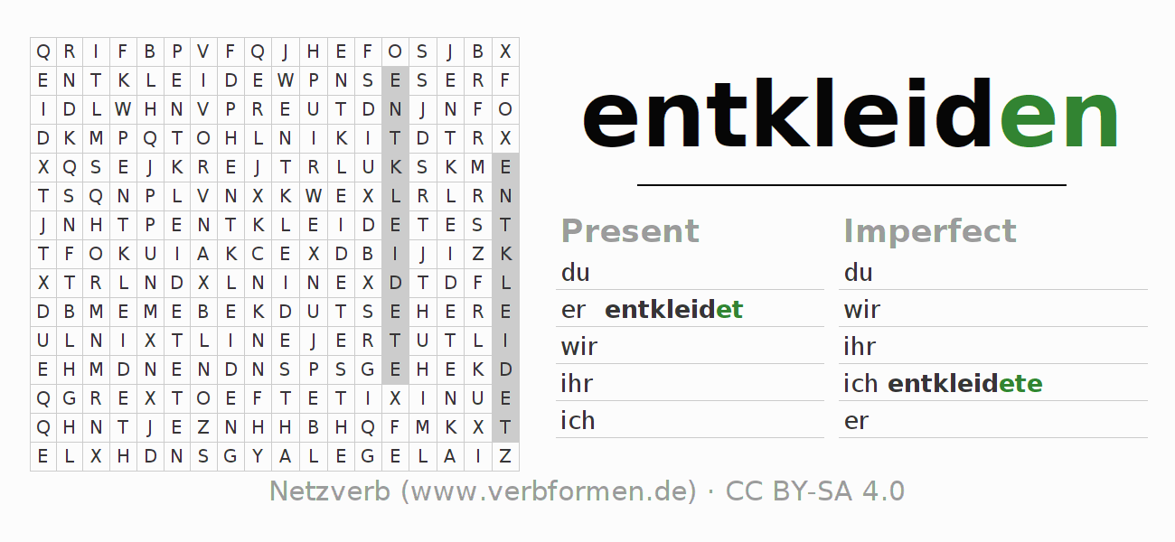 Word search puzzle for the conjugation of the verb entkleiden