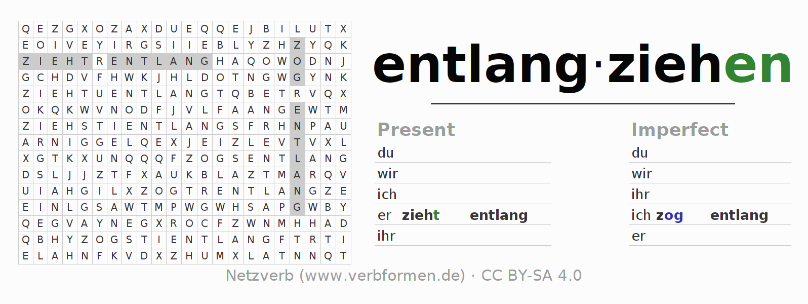Word search puzzle for the conjugation of the verb entlangziehen (hat)