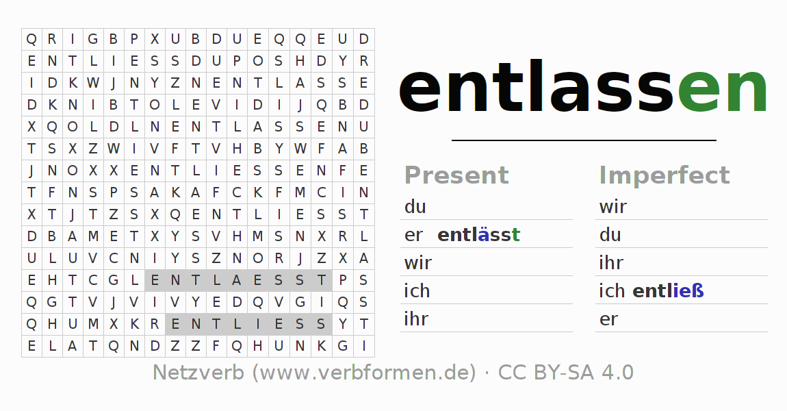 Word search puzzle for the conjugation of the verb entlassen