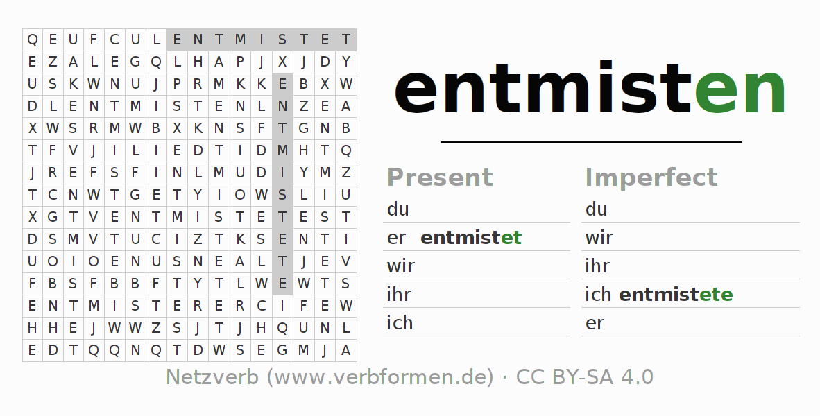 Word search puzzle for the conjugation of the verb entmisten